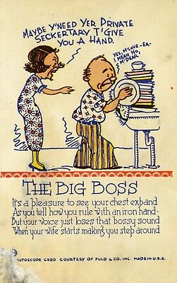 """Vintage Funny Ink Blotter from Ink Pen days 1930's """"The Big Boss"""" Fuld & Co."""
