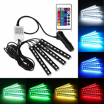 4x 9LED Remote Control Colorful RGB Car Interior Floor Atmosphere Light Strip ST