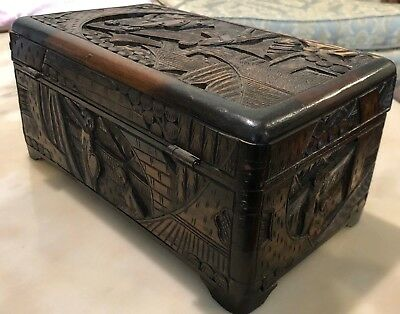 Old Antique Chinese Carved Camphor Wood Trinket Jewelry Chest Box