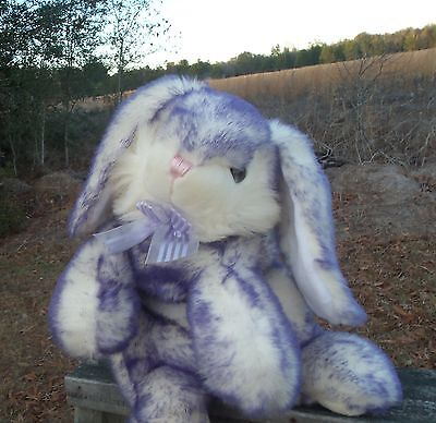 SKM purple white bunny rabbit  plush stuffed animal  FREE SHIPPING