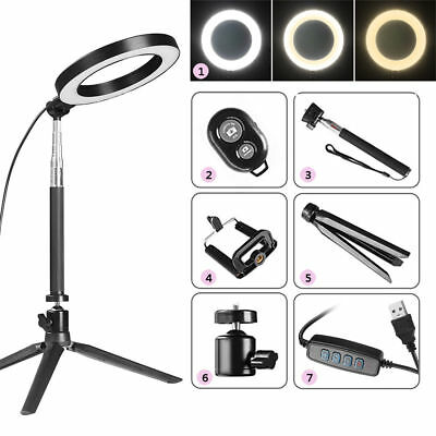 "8"" Dimmable 5500K LED Ring Light Kit w/ Stand For Makeup Phone Camera Selfie New"