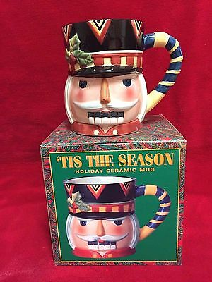 Tis The Season Holiday Ceramic Large 20 Oz Mug - Nutcracker - Rare-Vintage-*new*