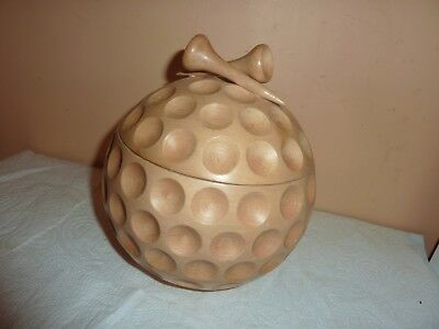 Wood Turned &carved 18.2Cm Golf Ball Shaped Vase/cover Or Ice Bucket -Tee Finial