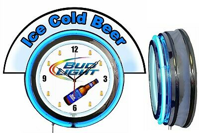 """Bud Light Beer w/ Ice Cold Beer Marquee 19"""" Blue Neon Clock Mancave"""