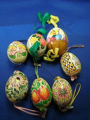 7 Vintage Hand Painted Egg Ornaments Christmas & Easter Poland & Czech