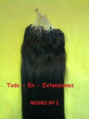 50 Extensiones Micro Ring, Cabello 100 % Natural, Calidad Remy AAA, NEGRO Nº 1