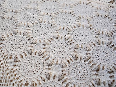 Vintage 1920s Ecru Crochet Knit Lace Tablecloth Bedspread French Country Wedding