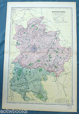 BEDFORDSHIRE -  Original Large Antique County Map -  BACON , 1897.