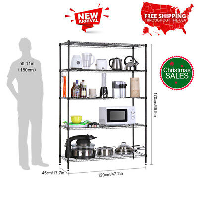 5Tier Heavy Duty Extra Large Shelving Unit Shoes Rack Kitchen Storage Organizer