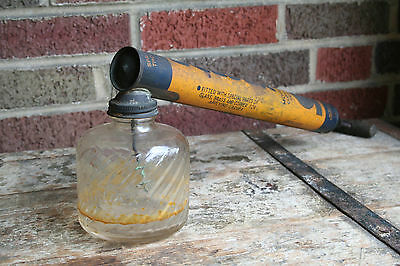 Hand Pump Insect Sprayer Vintage Antique LARVEX Wood Handle Fly Bug Glass Tank