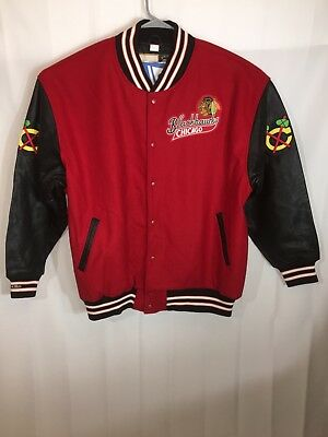 VTG BNWT Mitchell & Ness Throwback NHL Chicago Blackhawks BLK-Red Jacket 60/4XL