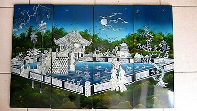 Vintage Vietnamese lacquer painting   Mother Of Pearl Inlay wood Panel Wall Art