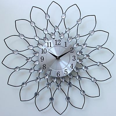 Large 50Cm Clear Diamante Beaded Jeweled Black Metal Spiked Sunflower Wall Clock