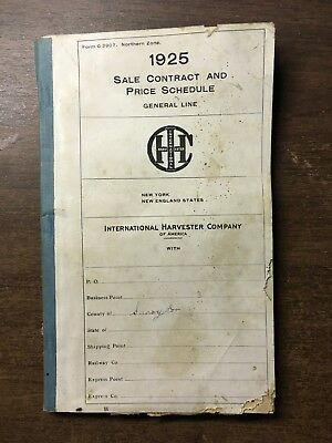 Vintage IH 1925 International Harvester Sale Contract and Price Schedule Book