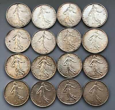 Tomcoins-1960s French Semeuse Sower 5 Franc Silver Coin AU
