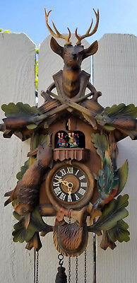"19"" Vintage West Germany Handcrafted Cuckoo Clock Deer Rabbit Regula 25 Painted"