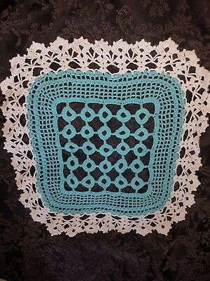 Handmade Vintage blue and white Crocheted Doilie. 50cm. Beautifully detailed.