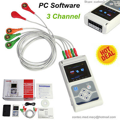 3 Channel 24H ECG/EKG Holter System Analyzer Recorder Monitor+PC Software US hot