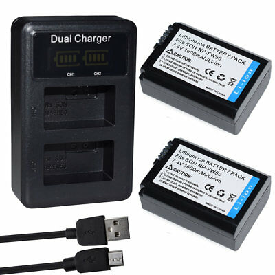 Li-Ion NP-FW50 Battery /LCD DUAL USB Charger For Sony Alpha ILCE-6300 ILCE-6000