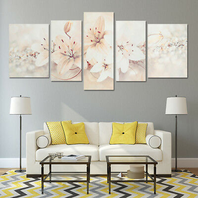 5-Panel Home Modern Floral Abstract Flowers Print Pictures Canvas Wall Art Deco