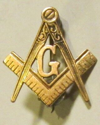 """Vintage Gold-Tone Masonic Pin, 5/8"""" X 5/8"""", Compass & Square, """"g"""" Used - Vg"""