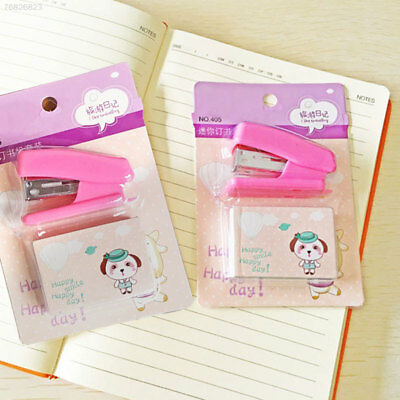 823B Mini Stapler + Staple Set Office School Students Children Supplies Pink