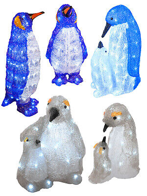 LED Acrylic Baby Penguins Christmas Light Up Indoor Xmas Decoration Pre Lit