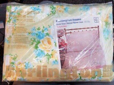 Vintage NOS BURLINGTON HOUSE No-Iron Gold Star Queen Fitted Sheet
