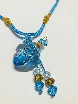 Glass Blue and Gold Heart Vial on Necklace
