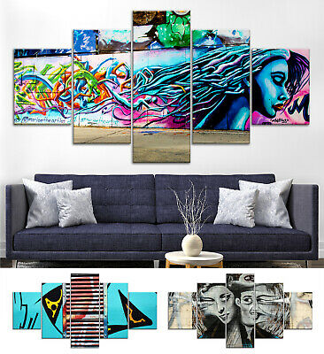 Graffiti Faces Abstract Canvas Print Painting Framed Home Decor Wall Art Poster