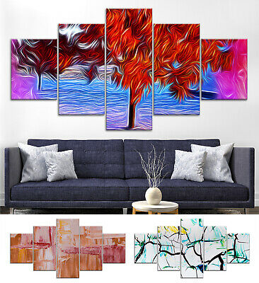 Tree Modern Abstract Canvas Print Painting Framed Home Decor Wall Art Poster 5P