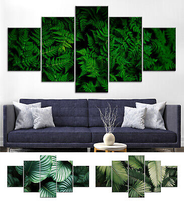 Leaves Grass Plant Canvas Print Painting Framed Home Decor Wall Art Poster 5Pcs