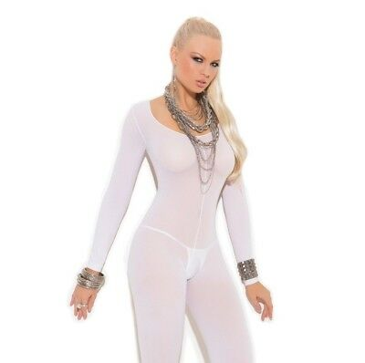 Bridal Lingerie White Opaque Long Sleeve Open Crotch Bodystocking Women