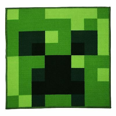 Minecraft Creeper Large Square Shaped Floor Rug Kids Bedroom Playroom