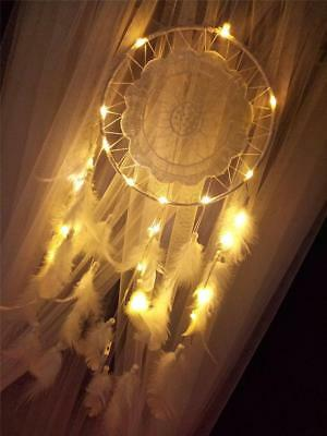 UK Handmade Dream Catcher With Feathers Light Hanging Dreamcatcher Girl's Gifts