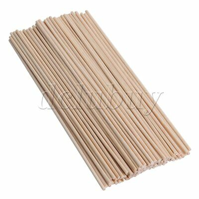 100Pieces Round Wooden Craft Stick Wooden Dowel Rods 3x200mm for Toffee