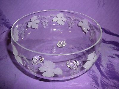 Bohemia Large Footed Bowl Sweets Desserts Puddings Etched Grape vines Leaves