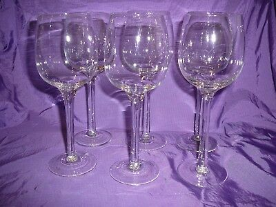 Wine Glasses Set of Six Long Stem Elegant Bar Parties Drinks