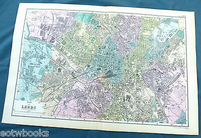 LEEDS -  Original Large Antique City Plan / Map -  BACON, 1897.