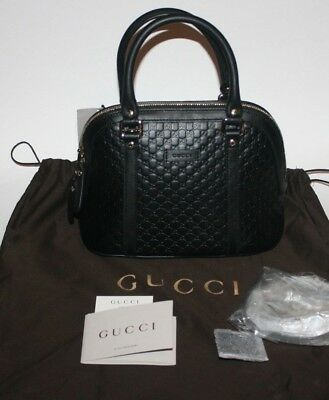 468fa40c5a13  995 Nwt Gucci Gg Micro Guccissima Black Leather Dome Cross Body Handbag  449654