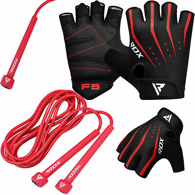 RDX Weight Lifting Gloves With Skipping Rope Gym Fitness Cycling Training Yoga A