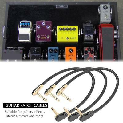"""3x Guitar Effect Pedal Patch Cable/Lead, 30cm Length, 1/4"""" Flat Right Angle Plug"""