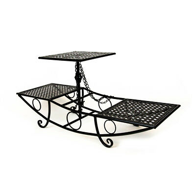 CAKE STAND THREE TIER BOAT - Black | Display Stand