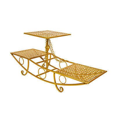 CAKE STAND THREE TIER BOAT - Gold | Display Stand