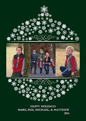 Ornament Any Color Holiday Christmas Personalized Photo Card-Any # Photo