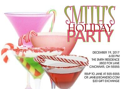 Cocktails & Candy Canes Holiday Christmas Party Invitation