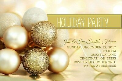 Gold Ornaments Holiday Christmas Party Invitation