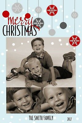 Snow Flakes & Ornaments Holiday Christmas Personalized Photo Card-Any # Photo