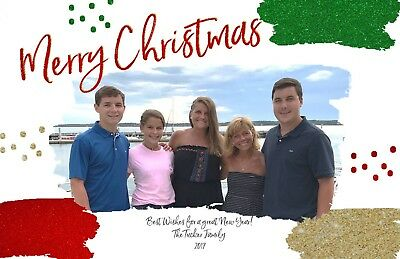 Paint Splatters Holiday Christmas Personalized Photo Card - Any # of Photos
