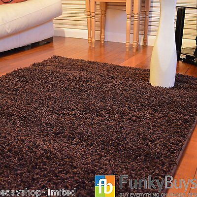XL Large Chocolate Brown Soft Thick Plain Shaggy Rugs Non Shed Modern High Pile